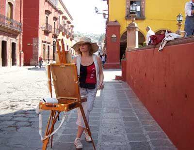 Painting at Jardins, Mexico