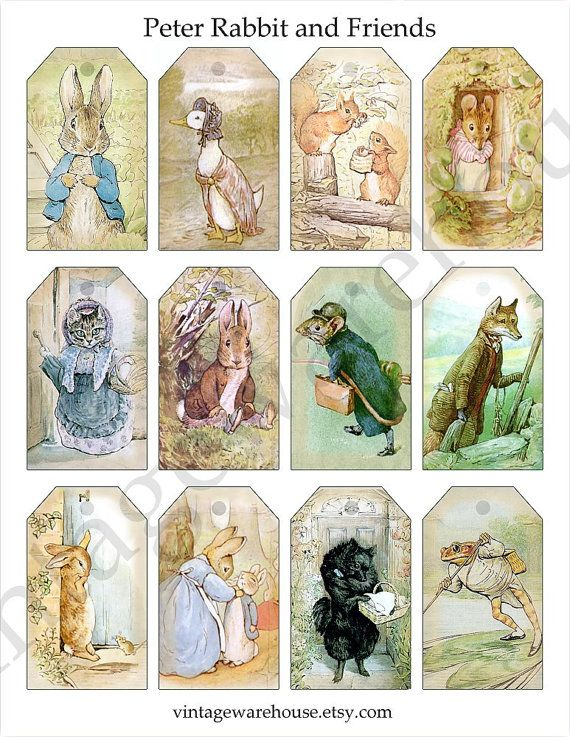 PETER RABBIT and Friends- Digital Tags Collage Sheet - Beatrix Potter Bunnies and Animals - Digital Download Print,Hang Tags (use for mobile? $2.50)