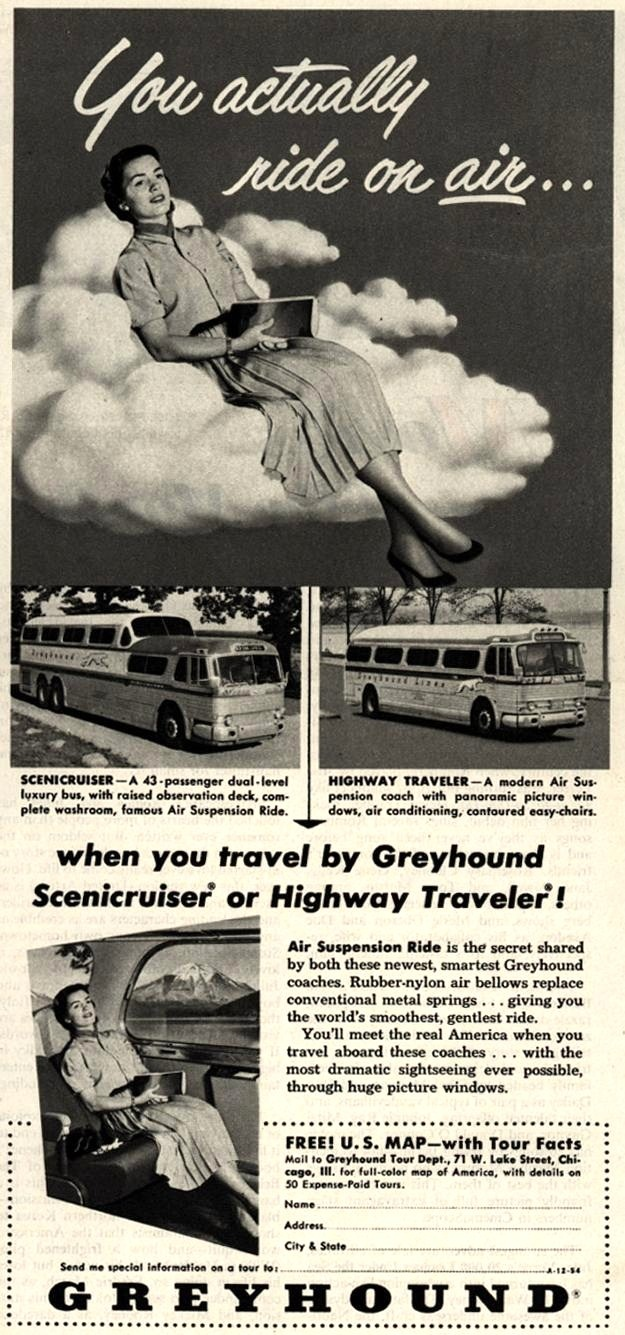 Vintage Greyhound Ad - 1954    .....................Please save this pin.   .............................. Because for vintage collectibles - Click on the following link!.. http://www.ebay.com/usr/prestige_online