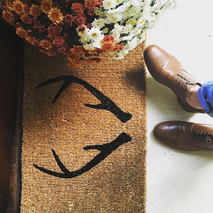 Our antler doormat—looks cute and keeps shoes clean. #WinWin #mywestelm photo by @jetvii