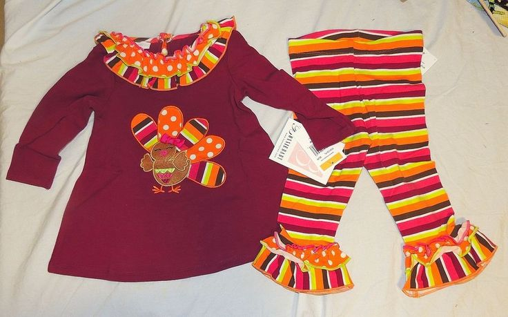 New Bonnie Baby Girl First Thanksgiving Outfit Turkey Size 12-24 Month Toddler #BonnieBaby