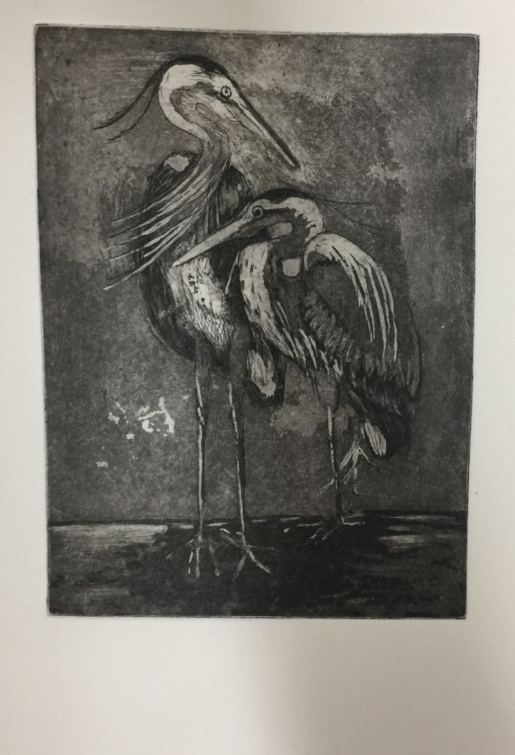 Copper plate hard ground etching with aquatint. Intaglio printing