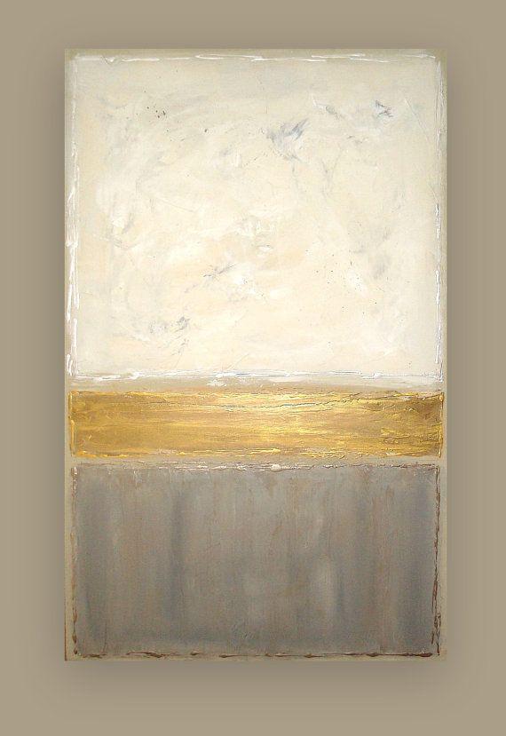 Dies ist ein original von einem freundlichen Gemälde Acryl Künstlers Ora Birenbaum.    Wunderbare moderne Stück mit sehr gedämpfte monochromatische Farben Taupe, Creme, Silber, Gold und weiß. Sehr strukturierte für wunderbare Tiefe und Dimension. Metallische Abschnitt scheint heller in die Fotos durch die Beleuchtung. Es ist ein wenig dunkler persönlich und hat mehr Zinn Schattierungen darauf.    Wäre schön in jede Richtung anzeigen. Es gibt ein Rand des weicher Taupe und die Seiten…