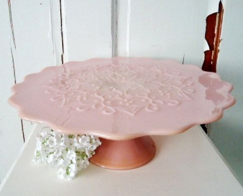 So pretty!  Pink vintage cake stand from 40s or 50s.   $198.  In my dreams.