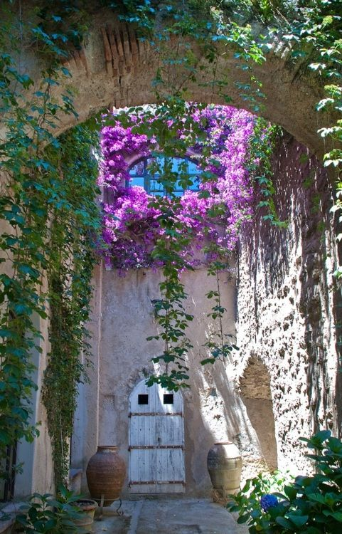 Campania, Italy…    (Source: Flickr / stuartjj, via naturesdoorways)Doors, Secret Gardens, Arches, Beautiful, Flower Vines, Windows, Places, Italy, Courtyards