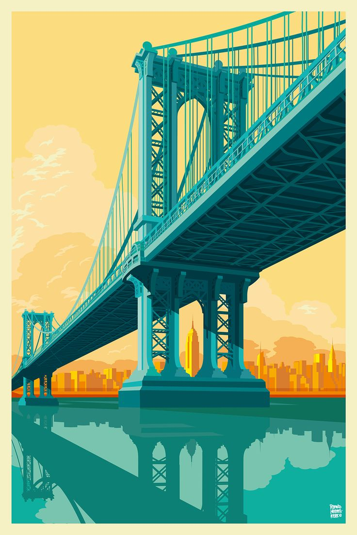 Artist's personal link brings New York architecture alive.  An artist whose brightly colored pictures of New York architecture have won him fans around the world has revealed how every artwork is inspired by a personal connection to each... TO READ MORE CLICK BELOW.  http://www.booyorkcity.com/artist-brings-new-york-architecture-alive/  Manhattan Bridge by Remko Heemskerk