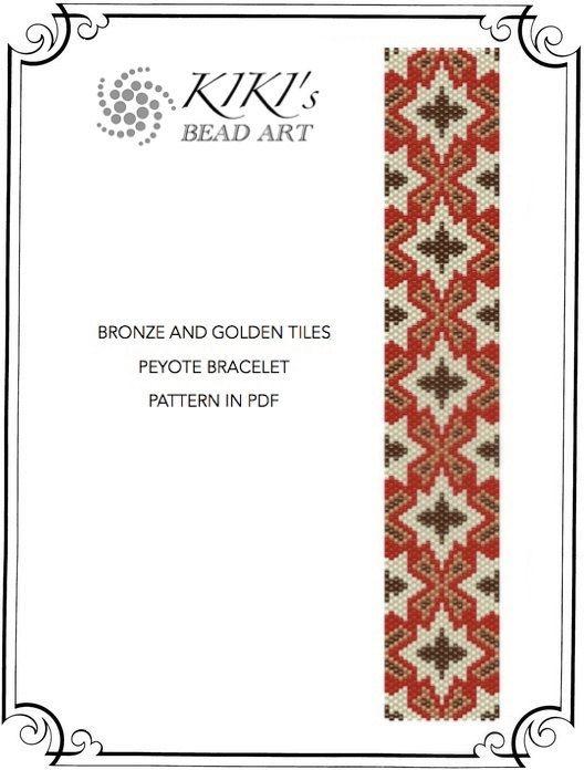 Pattern, peyote bracelet - Strip of tiles Moroccan inspired peyote bracelet cuff…