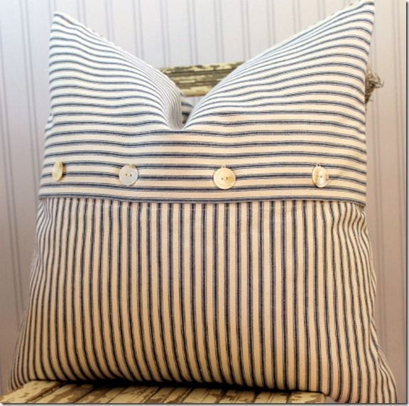 Blue Ticking Pillow Cover