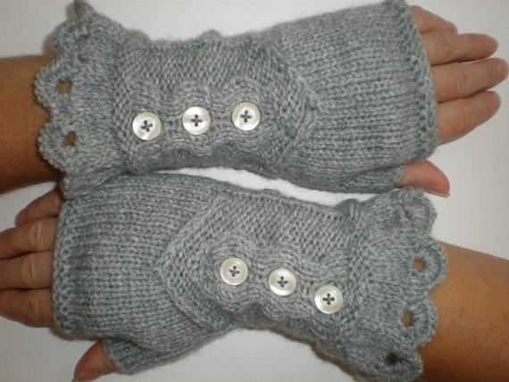 Hand-knitted light grey women fingerless gloves/wrist warmers