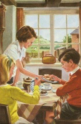 Ladybird Book illustraltion - Tea and cakes