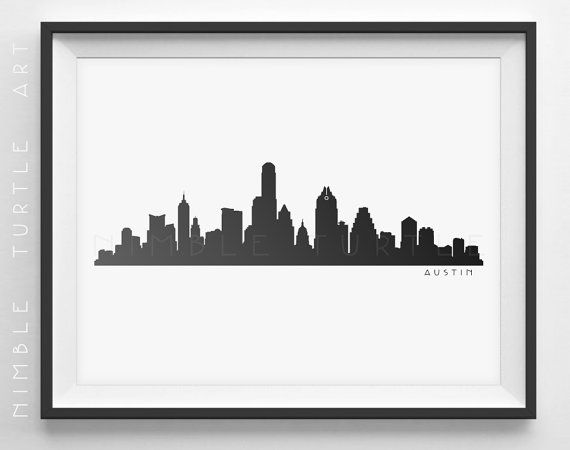 Austin Skyline Silhouette - Printable Download - PDF, PNG, SVG, EPS - Austin Texas.  ~~ Instant Download ~~