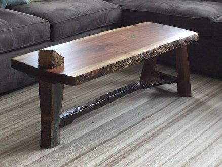 Walnut Burl coffee table w/ rock leg