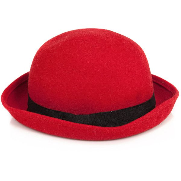 Pieces Hat Page Red (315 ARS) ❤ liked on Polyvore featuring accessories, hats, women, red wool hat, wool bowler hat, derby hats, red hat and red bowler hat
