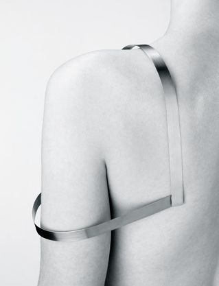 Sculptural Minimalism - sculpted shoulder piece; architectural body jewellery; minimal fashion // Josef Pleskot