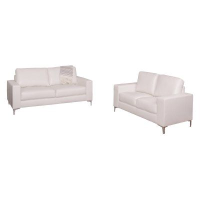 Tufted Sofa CorLiving Cory Piece Contemporary Bonded Leather Sofa Set White LZY Z Durable Products Pinterest Leather sofa set Products and Leather