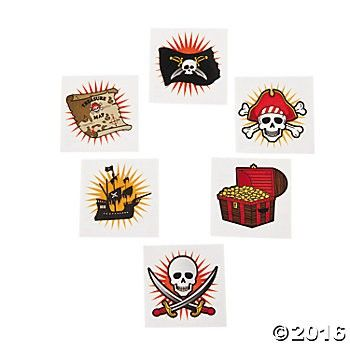 Pirate Tattoos - 72 Pk Party Supplies Canada - Open A Party