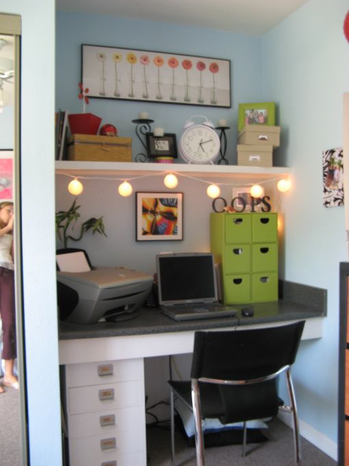 Adorable desk area.  So organized, you don't even notice the lack of space!