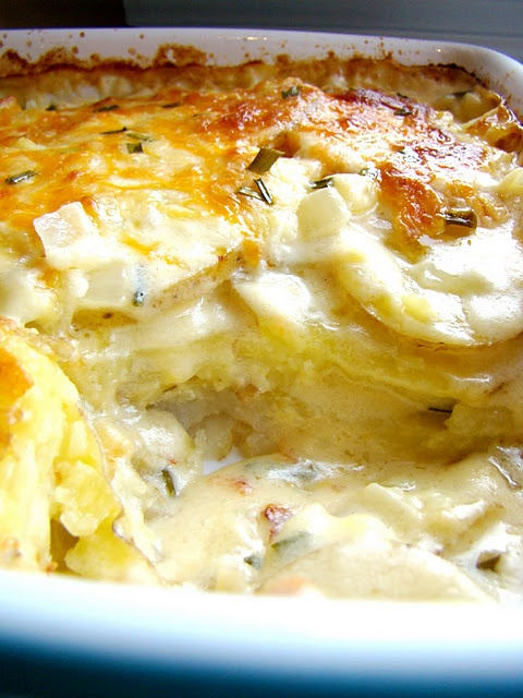 Cheesy Scalloped Potatoes: Butter, onion, flour, milk, garlic, cheese, chives, salt & pepper. Bake 60 minutes at 375.