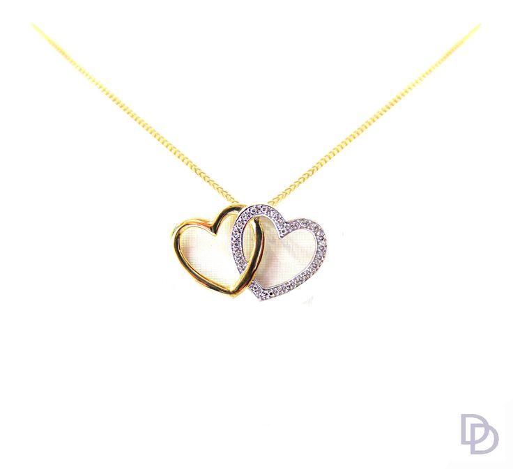 9ct yellow gold and white gold diamond set double heart pendant