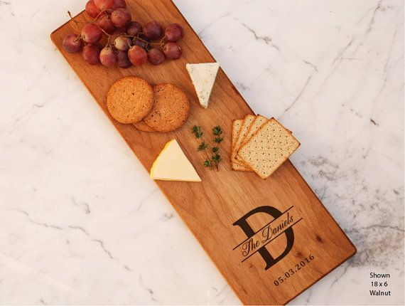 Last Name Monogrammed Custom Cheese Board Gift by WoodLuckEngraved