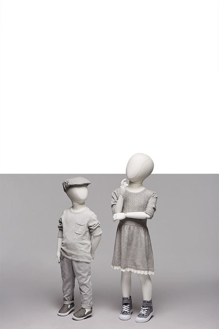 TAILOR KIDS Collection | Kids | GENESIS MANNEQUINS | TAILOR KIDS are mannequins with fabric-covered torsos. These mannequins are perfect for denim and streetwear with their urban, casual retro look. Optionally, they can also be combined with articulated wooden arms.