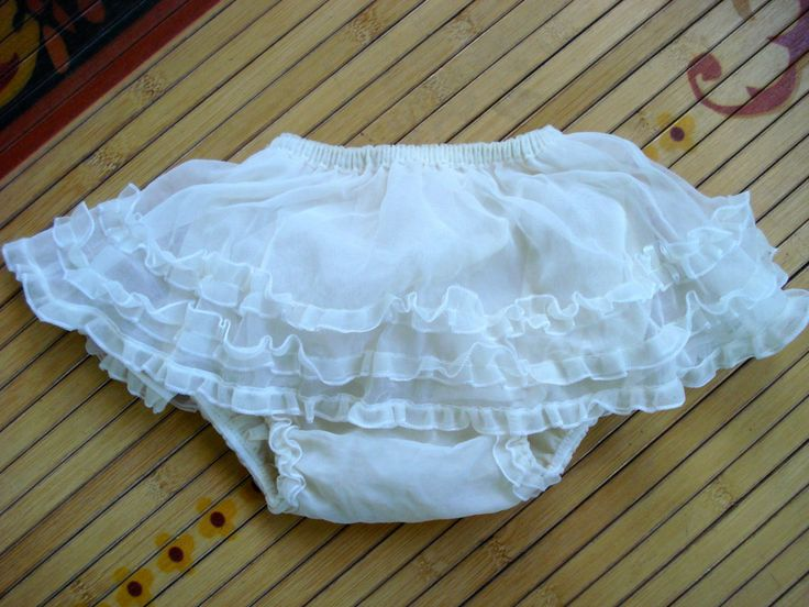 1960s White Ruffled Water Proof Plastic Baby Training
