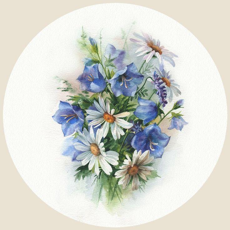 Картинки для декупажа полевые цветы винтаж