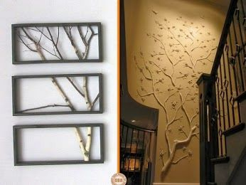 Use of branches as art or to make a feature wall.