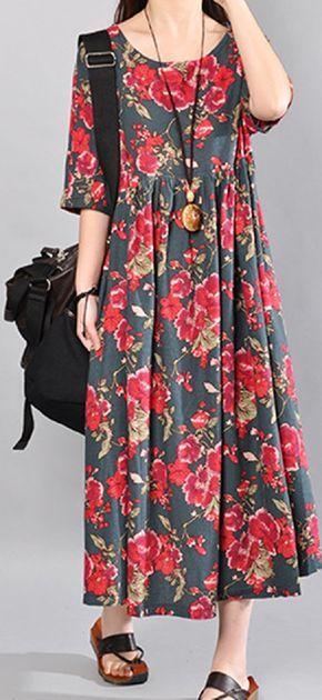 US$19.62 O-NEWE Vintage Flower Printed Short Sleeve Maxi Dress For Women