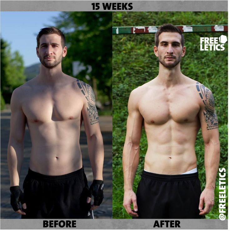 15 week transformation. Workouts with Freeletics Cardio and Strength guide. Train like an athlete, look like an athlete! http://frltcs.com/freeletics-transformation