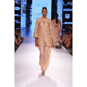 Blush Dupion Silk Kurta with Zardosi & Leather Applique Embroidery worn with Blush Silk Afghani Salwar. #weddingshopping #weddinglehenga #fusion #contemporary #payalsinghal #bandbaajaa #womenfashion #weddinginspiration #designerwear