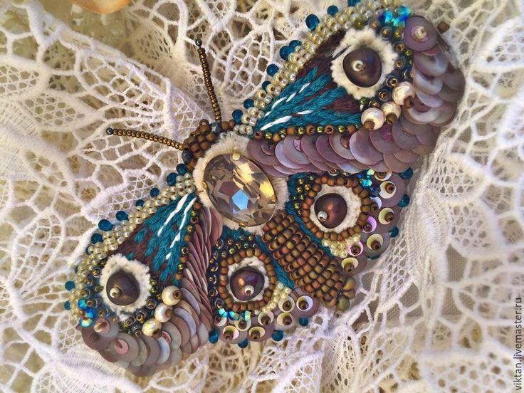 """Купить Брошь """"Бабочка-Ly"""" - бирюзовый, коричневый, брошь, бабочка, бабочки, мотылек, мотылёк"""