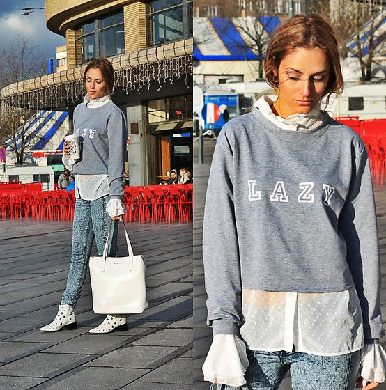 Get this look: http://lb.nu/look/8929947  More looks by Ruxandra Ioana: http://lb.nu/user/1879281-Ruxandra-I  Items in this look:  Zaful  Sweatshirt, Zaful  Blouse, Michael Kors Bag, Sacha Shoes  Shoes   #chic #romantic #street #streetstyle #ootd #lookbook