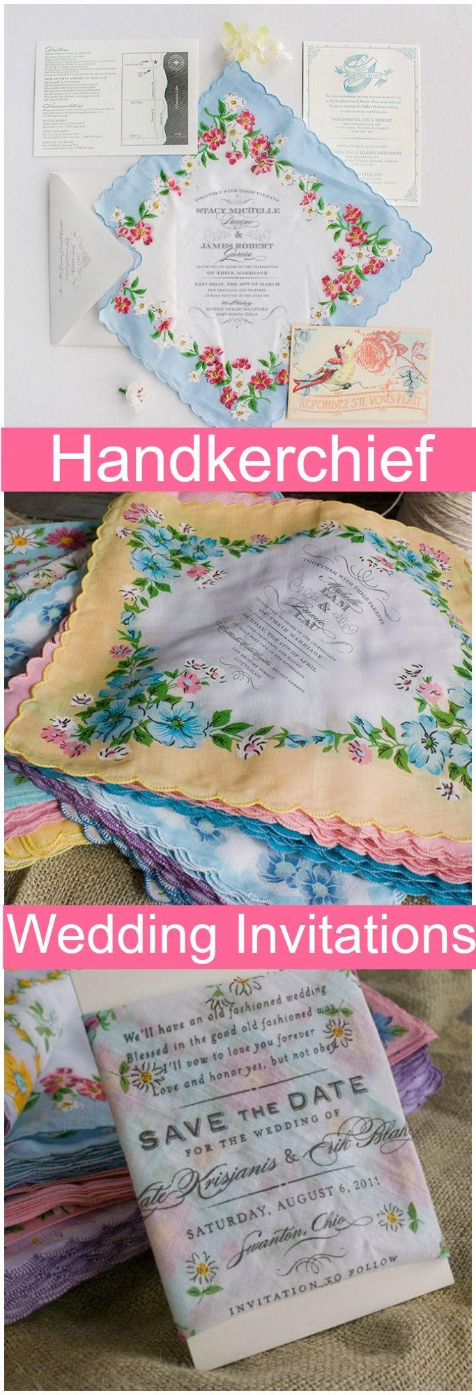 vintage country garden wedding invitations%0A Handkerchief Wedding Invitations