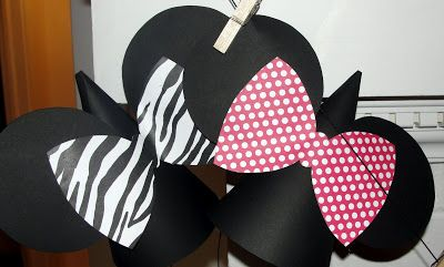 Minnie Party Hats/Decor (Zebra, Pink and Red)