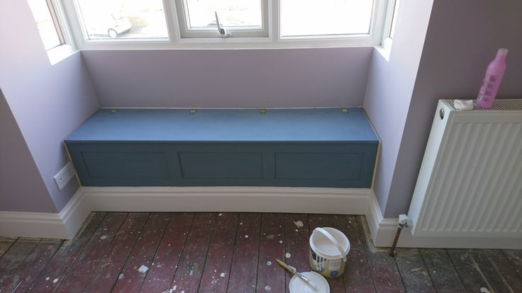 Valspar paint purple pebble matt. Skirting valspar egg shell. Window seat Annie Sloan old violet.