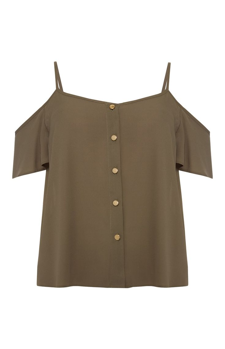Primark - Khaki Button Cold Shoulder Top