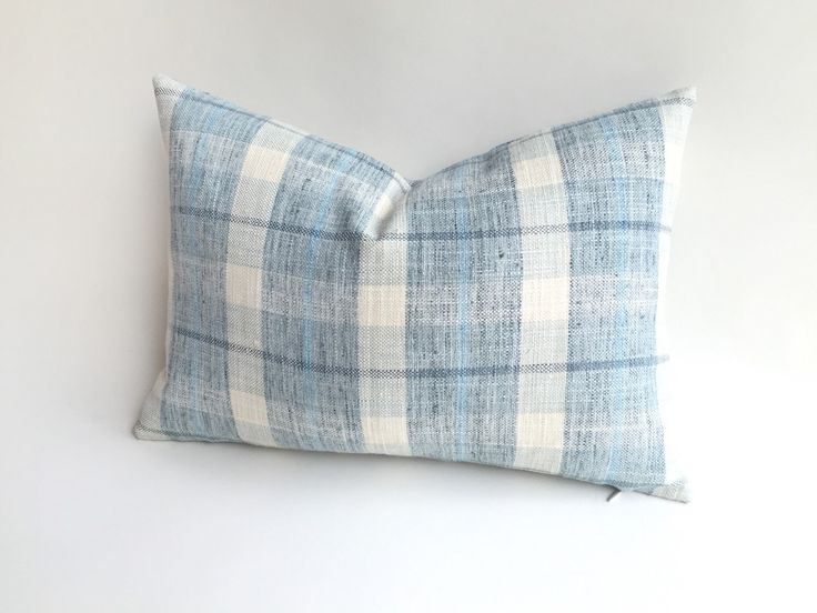 One Light Blue Plaid Designer Zipper Pillow Cover 18x18 24x24 26x26 or lumbar Pillow cover Blue Cream Buffalo Check-G9WO by Pillomatic on Etsy https://www.etsy.com/listing/239687838/one-light-blue-plaid-designer-zipper