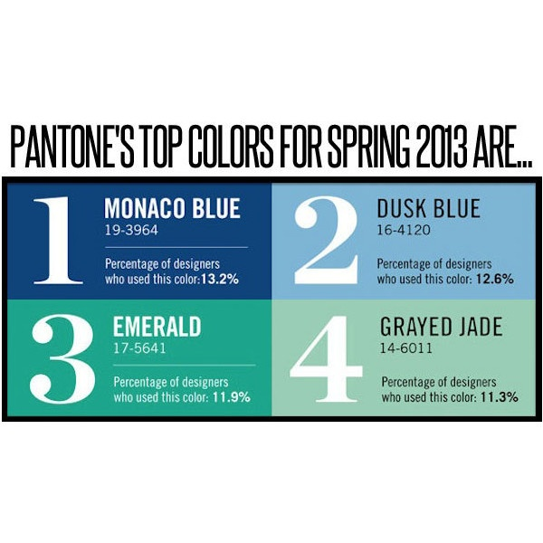Pantone 2013 Top Color for Fashion Monaco Blue found on Polyvore, Love the Emerald and the Grayed Jade! ohhhh