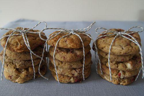 White Choc Chip and Raspberry Cookies