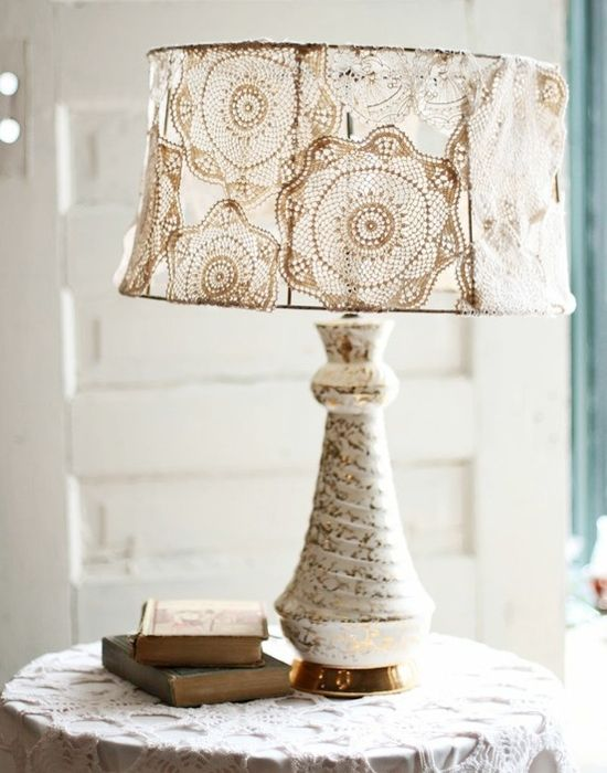 old doilies hand crochet doily onto bare metal lampshade shade. Black Bedroom Furniture Sets. Home Design Ideas