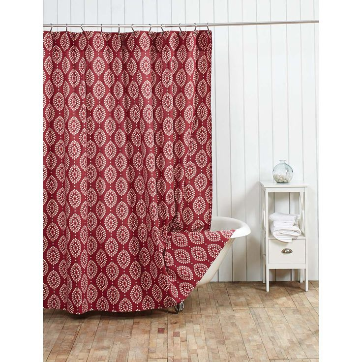 Fashioned From A Single All Cotton Fabric The Paloma Shower Curtain Displays Boho Red CurtainsCotton FabricShowersBoho Chic OutletsOutlet