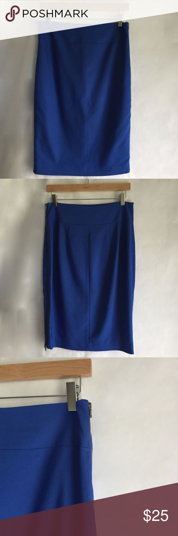 Express – Royal Blue Midi Pencil Skirt Worn only once or twice. Royal blue. High rise. Exposed zipper on left side. Unzip as much as you want. Skirt Length: 26 inches. Express Skirts Midi
