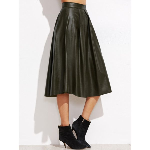 SheIn(sheinside) Army Green Pleated Zipper Back PU Skirt ($19) ❤ liked on Polyvore featuring skirts, green, army green skirt, long print skirt, long pleated skirt, green pleated skirt and long pleated maxi skirt