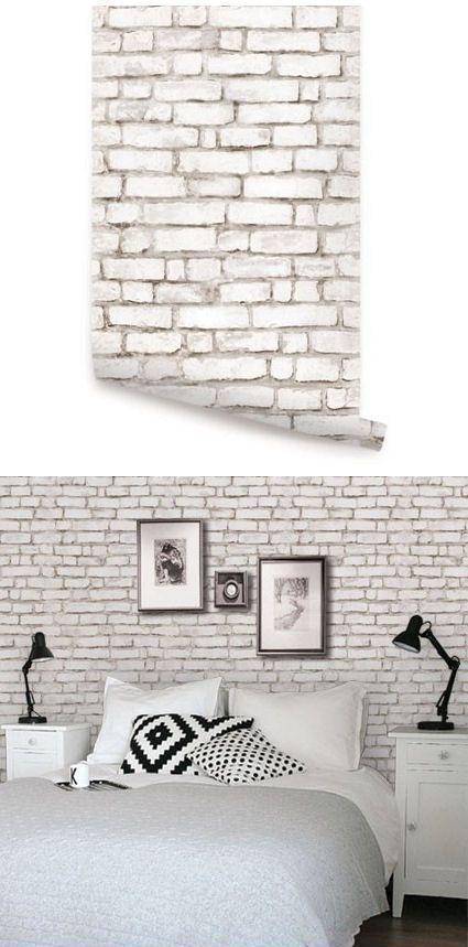 Brick White Peel & Stick Wallpaper: