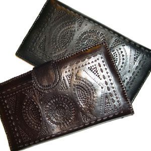 Hand-Tooled Leather Wallet - Charity Gifts - Marie Claire Proceeds go to Nest