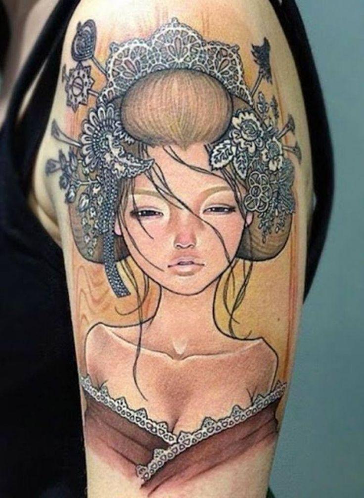 Tattoo asian geisha girl side koi lotus flowers full body canvas art print
