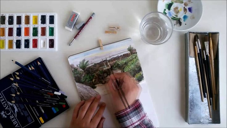 Создание иллюстрации в тетради с акварельным блоком (Making of watercolo...