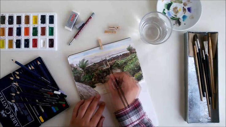 Создание иллюстрации в тетради с акварельным блоком (Making of watercolo...