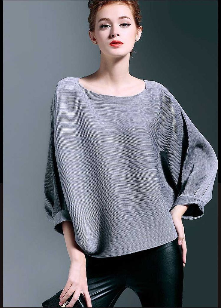 Womens traditional chinese tops yellow/red/green/pink/gray O-neck 3/4 batwing sleeve spring loose blouse shirt female